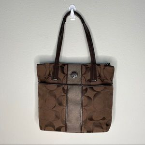Coach signature stripe brown shoulder bag